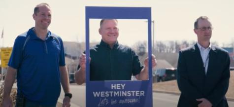 Mr. Larrimore (L), Mr. Wetzel (C), & Mr. Herman (R) pose with a Hey Westminster! frame.
